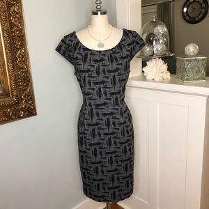 Calvin Klein Black & Gray Textured Sheath Dress